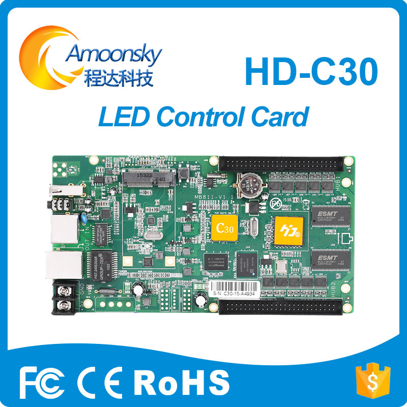 Max support 100 or 300 thousand pixels LED display HD-C30 led synchronous display control card cybernetics or control