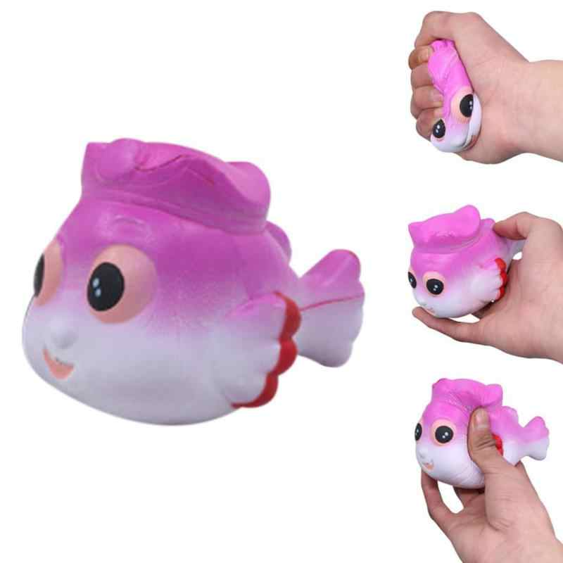 2019 снятие стресса ИМИТИРОВАННАЯ маленькая золотая рыбка ароматизированный медленно поднимающийся дети сжимаемая игрушка scuishies blandos skuishy animales F