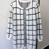 Winter Tops Hot Sale Hot Style European And American Women S Sweater Loose Checked Mohair Cardigan