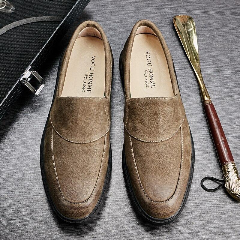 New British Sandales kaki Version En Tendance Chaussures Noir De Mode Coréenne Paresseux Cuir Hommes Loisirs 2018 La 3LAj54R