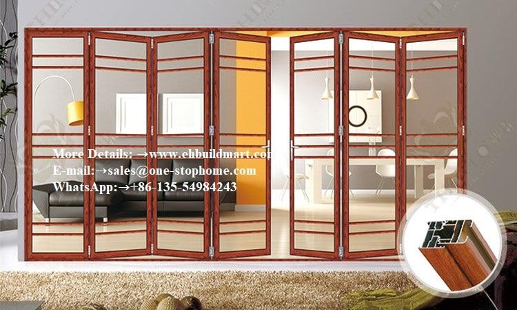 Aluminum Frame Interior Tempered Folding Glass Door,sliding Glass Bi-folding Doors,doors Interior,black Interior French Door