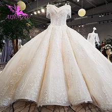 AIJINGYU חתונה שמלות סרי לנקה שמלות מוסלמי גותי 2 ב 1 שנזן אישור שמלת רגיל חתונה שמלת Boho ארוך שרוול