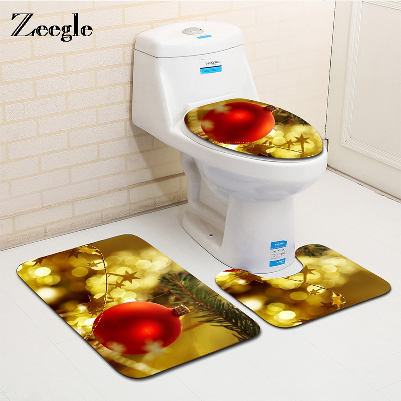 Zeegle Home Decor Xmas Red Ball Christmas Tree Rug Carpet For Bathroom Dining Room Floor Mat