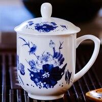 # Un estilo Chino platos y tazas de café juego de té de porcelana China blanca taza azul Royal imperial café