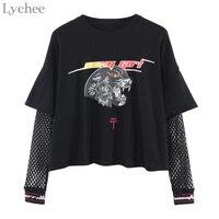 Lychee Harajuku панк Женская футболка сетчатая с вырезами Лоскутная с леопардовым принтом футболка с длинным рукавом Топ