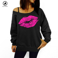 Plus Size Women Sweatshirts Sexy Lip Print Sexy Off Shoulder Long Sleeved Loose Pullovers Hoodies Sudaderas