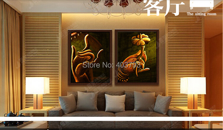 MODERN ABSTRACT HUGE LARGE CANVAS ART OIL PAINTING buddha hand paintings no framed in Painting Calligraphy from Home Garden