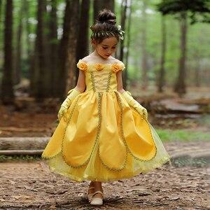 Платье принцессы Белль, костюм красавицы и чудовища для девочек, вечерние платья с цветами желтого цвета на день рождения, Хэллоуин, детская...