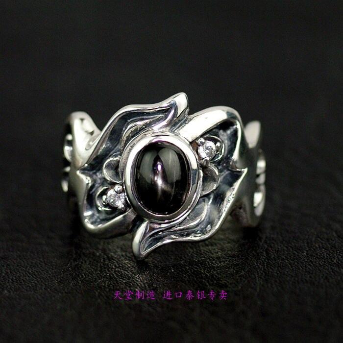 Thaïlande bijoux naturel étoile noire pierre anneau surface 925 bague en argent sterling
