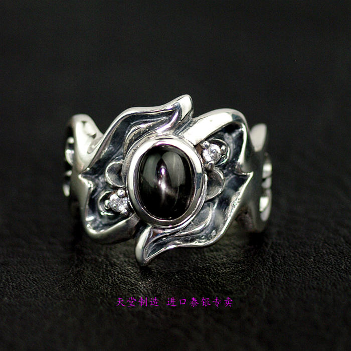 Thailand jewelry natural black star stone ring surface 925 sterling silver ring