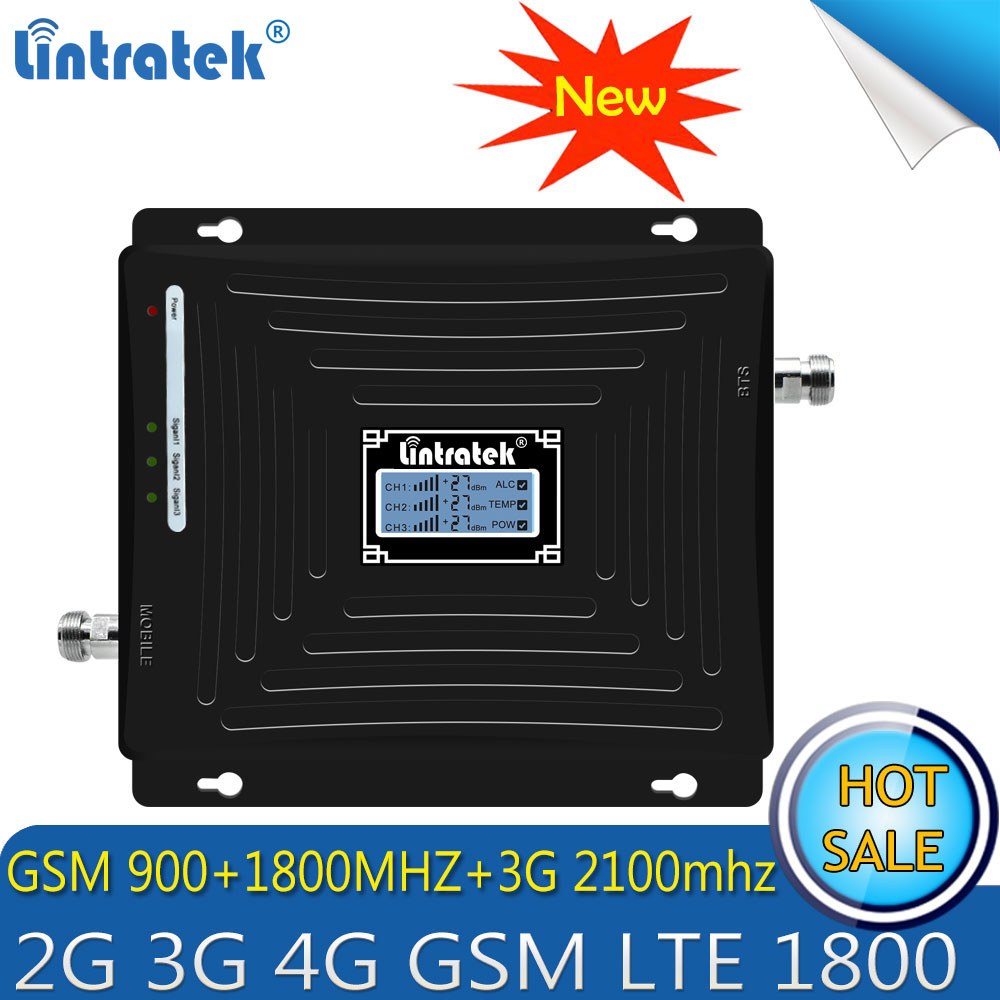 Lintratek Repetidor 2G 3G 4G Tri Band Signal Booster GSM 900 DCS LTE 1800 WCDMA UMTS 2100MHz Cellphone Cellular Signal Repeater