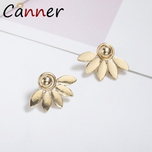 CANNER Simple Leaf Earrings Korean Earings Fashion Jewelry Stud for Women Silver pendientes mujer oorbellen FI