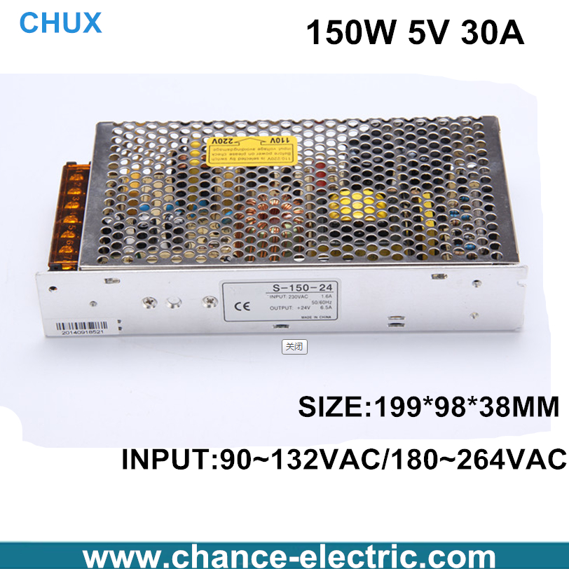 5vdc LED Switching Power Supply 150W 5V 30A Single Output  for CNC led light  (S-150-5) free shipping