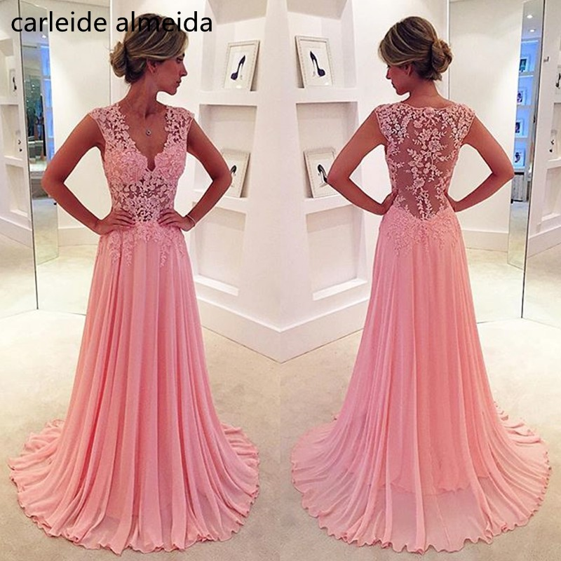 V-Neck A-Line Chiffon   Prom     Dresses   See through Bodice Lace Appliques Vestidos de gala Floor Length Robe de bal Formal   Dress