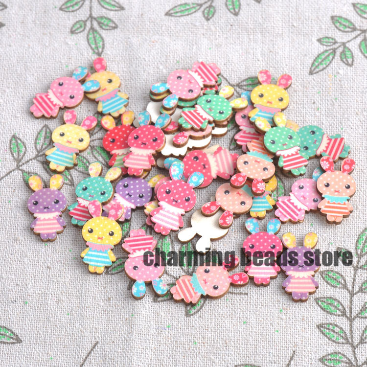 No holes mixed lovely rabbit wooden decorative buttons for for Decorative pins for crafts