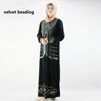 2XL-5XL plus size adult abaya cotton velvet diamond beading thicker embroidery hot drilling Islamic Muslim women 's robes w1742