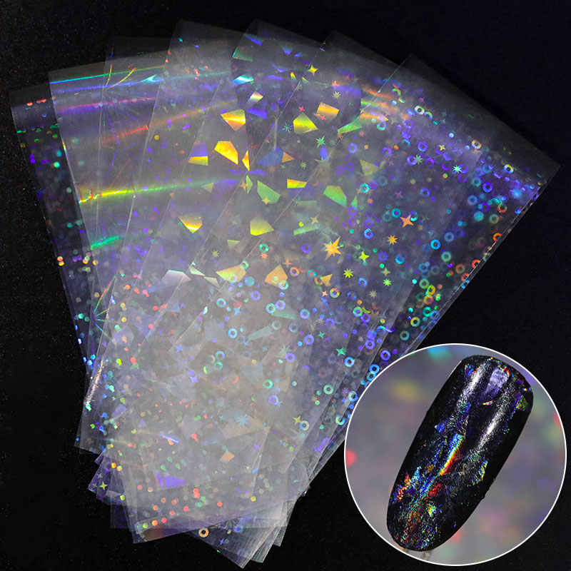 8 pieces Holographic Nail Foil Colorful Stickers Transfer Starry Stickers Sliders for Decoration Nail Art Tips Manicure Tools