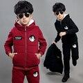 Ropa de Invierno 3 Unids Set Boys & Girls Terciopelo Ropa de Algodón Acolchado espesantes Niños Chaleco + Tops + Pants Suit A17