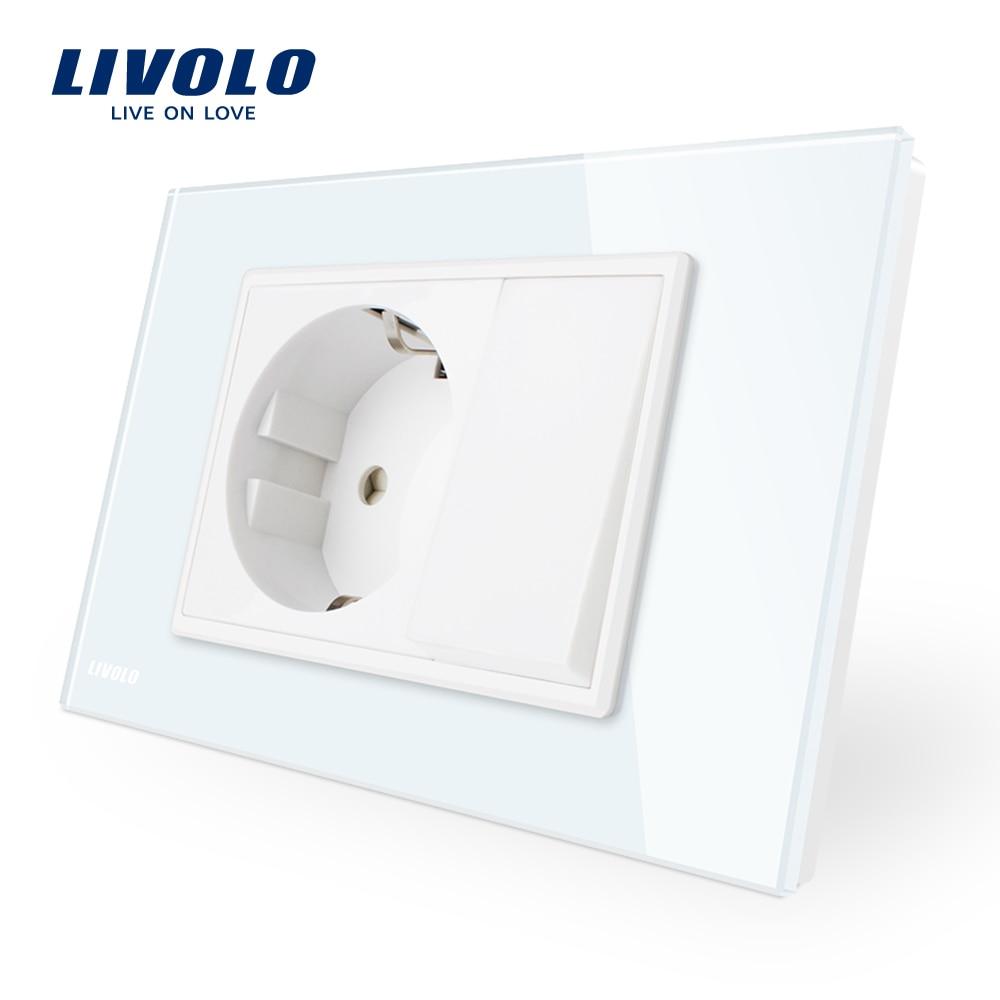 Livolo 16A Wall Power Socket with one push button switch, White/Black Crystal Glass Panel, AC 110~250V , VL-C9C1EU1K-11/12