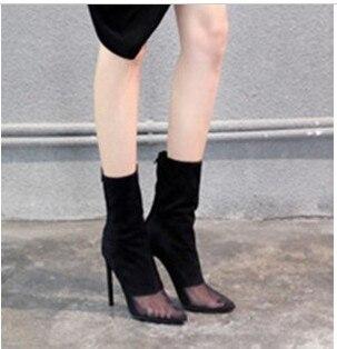 ФОТО POPULAR 2015 fashion anna aw pointed toe gauze medium-leg high-heeled boots