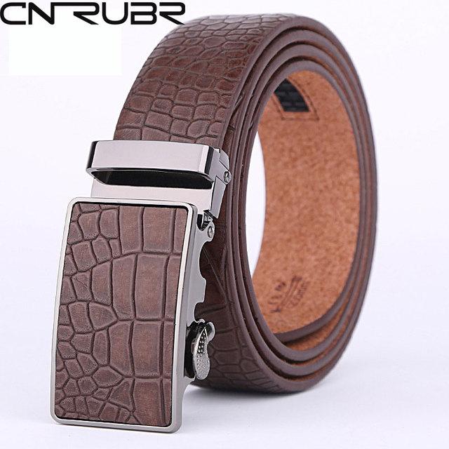 CNRUBR Mens Cinturones Estampado Geométrico de Moda Correa de Cuero Genuina Para Los Hombres Cinturones de Diseño de Marca de Alta Calidad de Lujo Correas