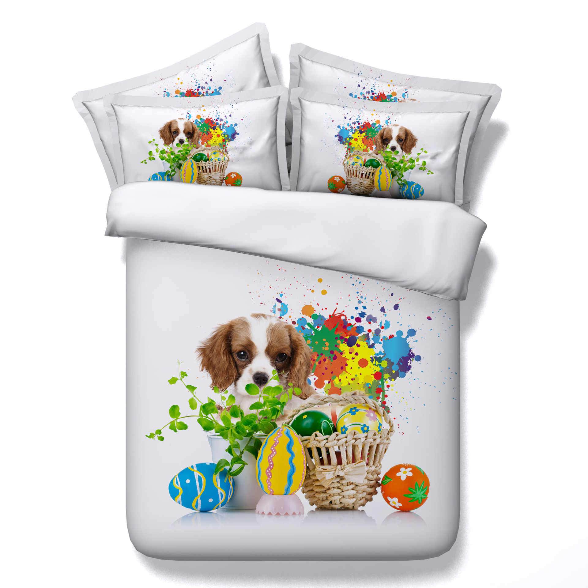 3D Trendy Puppy comforter Bedding Sets Watercolor Bed Set Queen Sweet Valentine's Day Gift Duvet Cover king size for Dog Love