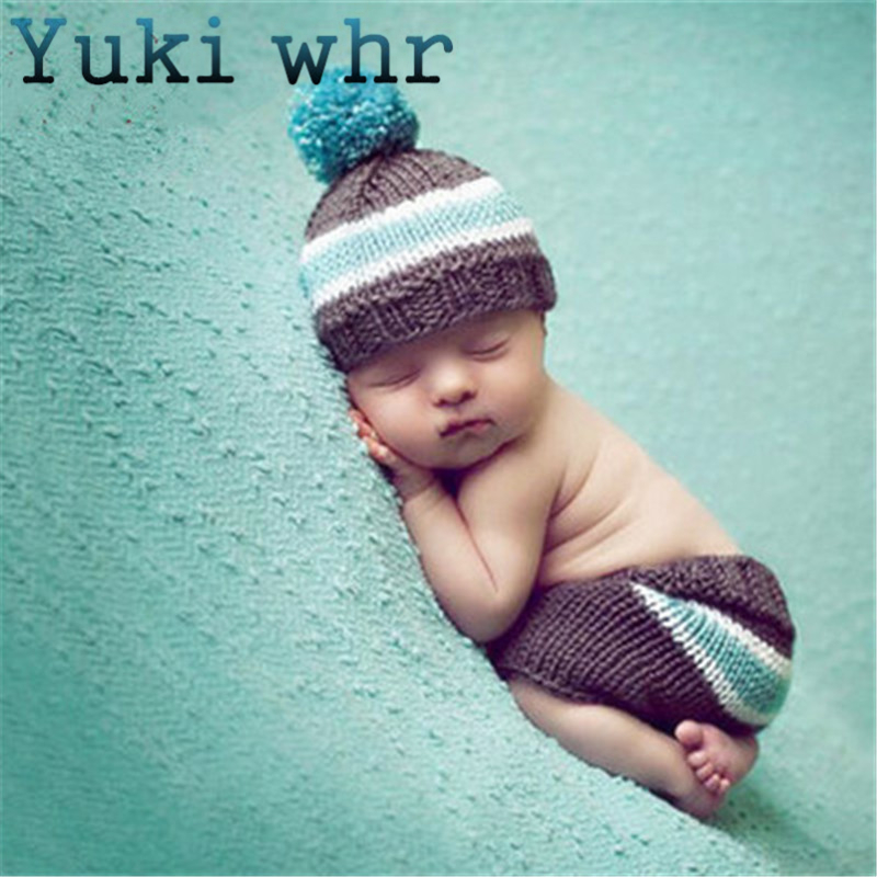 2018 Newborn Crochet Outfits Baby Photography Props Photo Knit Pants and Hat Newborn Photography Accessories 0-3 Months