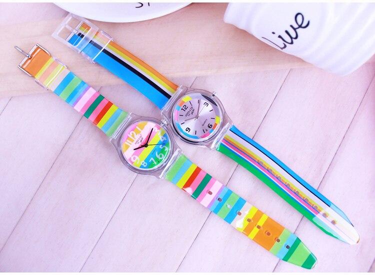 Уиллис в радужную полоску Для женщин Уиллис мини часы смолы моды стол Водонепроницаемый дамы стол Rainbows часы