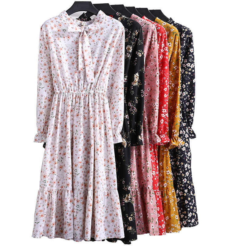 Spring autumn elegant floral print chiffon dress 2019 new fashion trend bow ladies long sleeve sweet mori girl vestidos