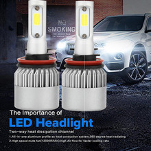 New Auto Car Headlights 72W H11 COB  LED 16000LM Auto Car Headlights Kit Driving Bulbs Lamps 6000K Head Lamp Fog Lights 2019