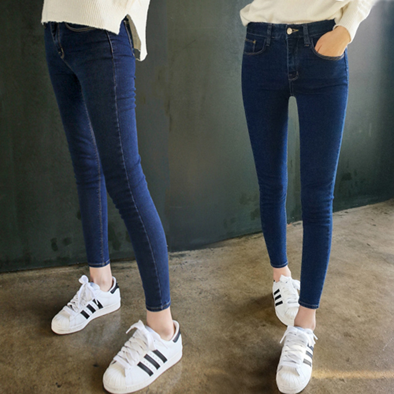 The Spring and Autumn New Style High Waist Hin Thin Elastic Pencil Pants Female Students Solid  Tight Long Trousers S-4XL