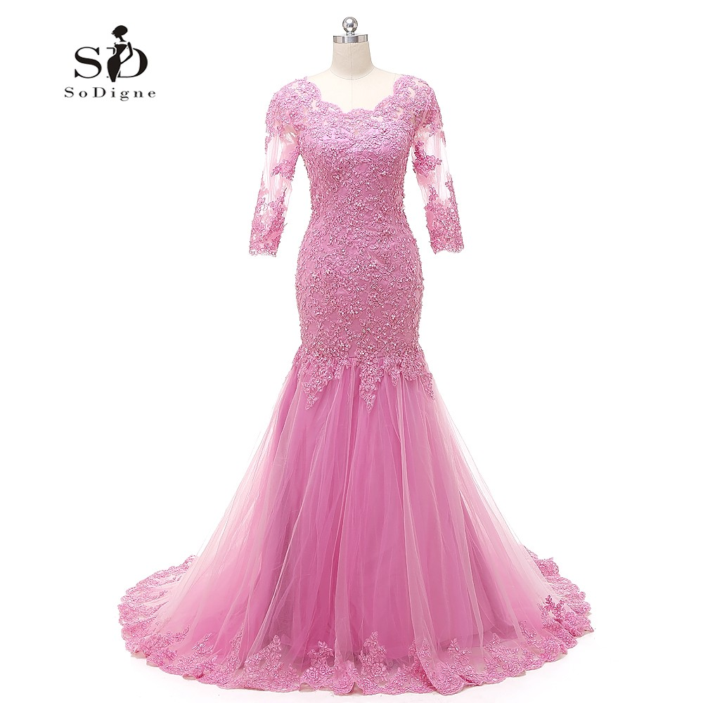 Mermaid Wedding Dress 2018 Pink Wedding Dresses with Veil Lace Appliques with Beads Bridal Gown Three-quarter sleeves Lace-up