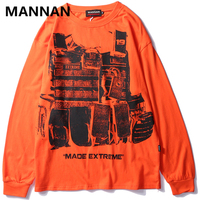 MANNAN 2019 Men Spring Autumn Long Sleeved O Neck Oversize Hip Pop T Shirts Tees Male Casual Fashion Loose Style T Shirts