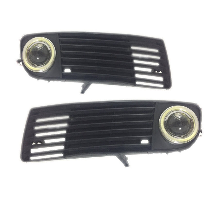 For Audi A6 C5 1998-2001 3-in-1 White Angel Eyes DRL Yellow Signal Light H11 Halogen / Xenon E13 Fog Lights Projector Lens