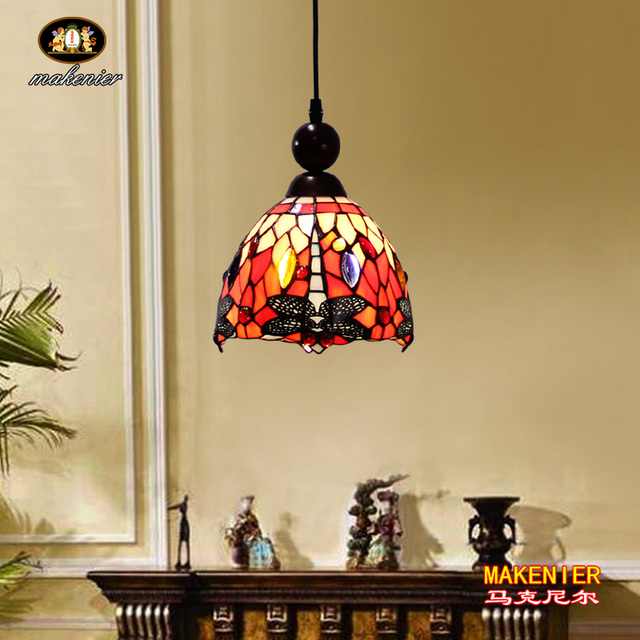 Makenier Tiffany Style Stained Glass Red Dragonfly Vintage Small Pendant Lamp 7 Inches Lampshade