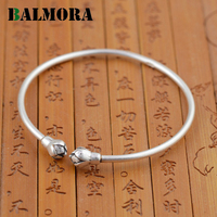 BALMORA Authentic 990 Pure Silver Jewelry Retro Lotus Bud Open Bangles For Women Bracelets Accessories Gifts