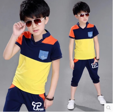 Kids boys short-sleeved suit 2016 new summer children's cotton casual T-shirt big virgin piece shorts girls clothes 3-15 years 9 цена 2016