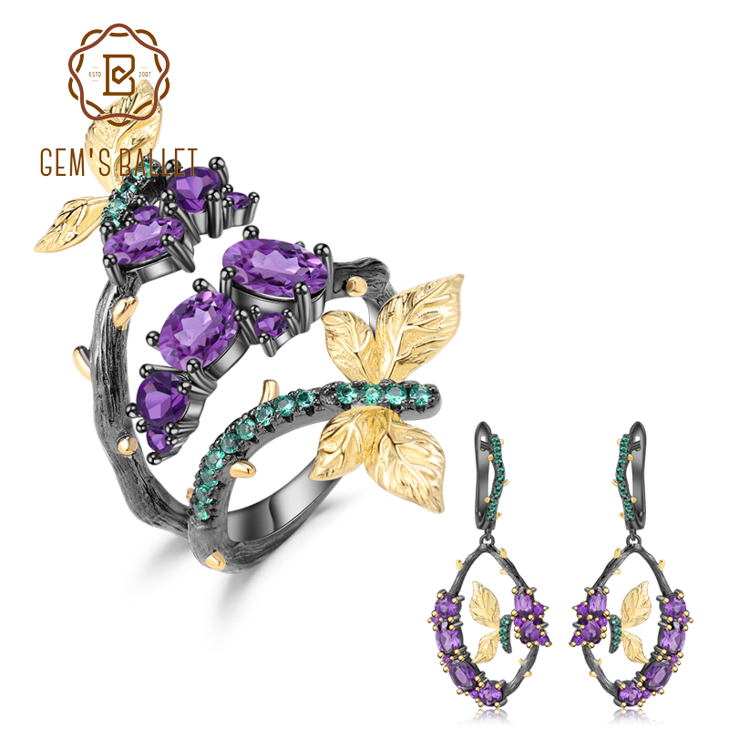 GEM S BALLET 5 55Ct Natural Amethyst Jewelry Set 925 Sterling Silver Handmade Adjustable Ring Earrings