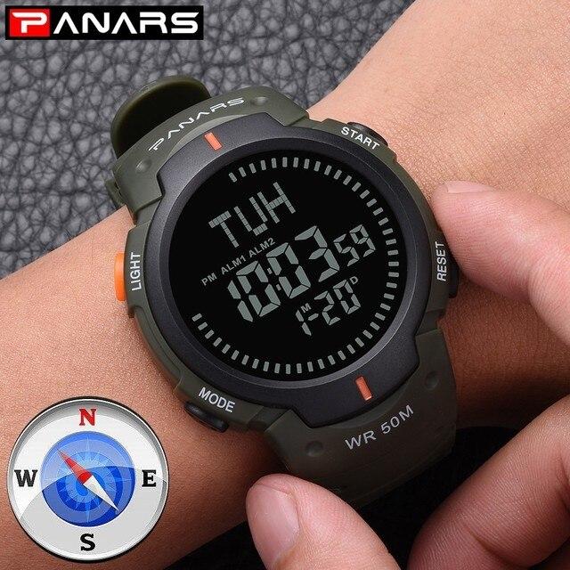 PANARS boussole montre Sport plein air hommes montre numérique électronique montres bracelets mâle chronographe chronomètre antichoc étanche