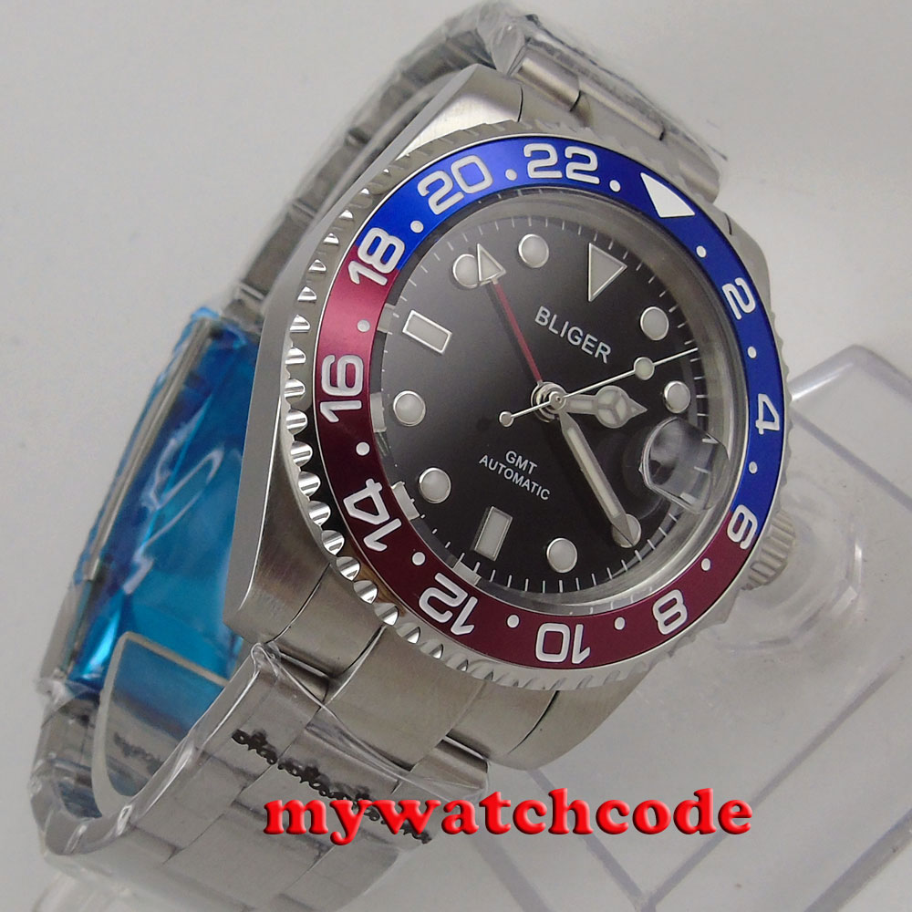 40mm bliger black dial GMT red blue Bezel date automatic mens watch P443 коньки onlitop 223f 37 40 blue 806164