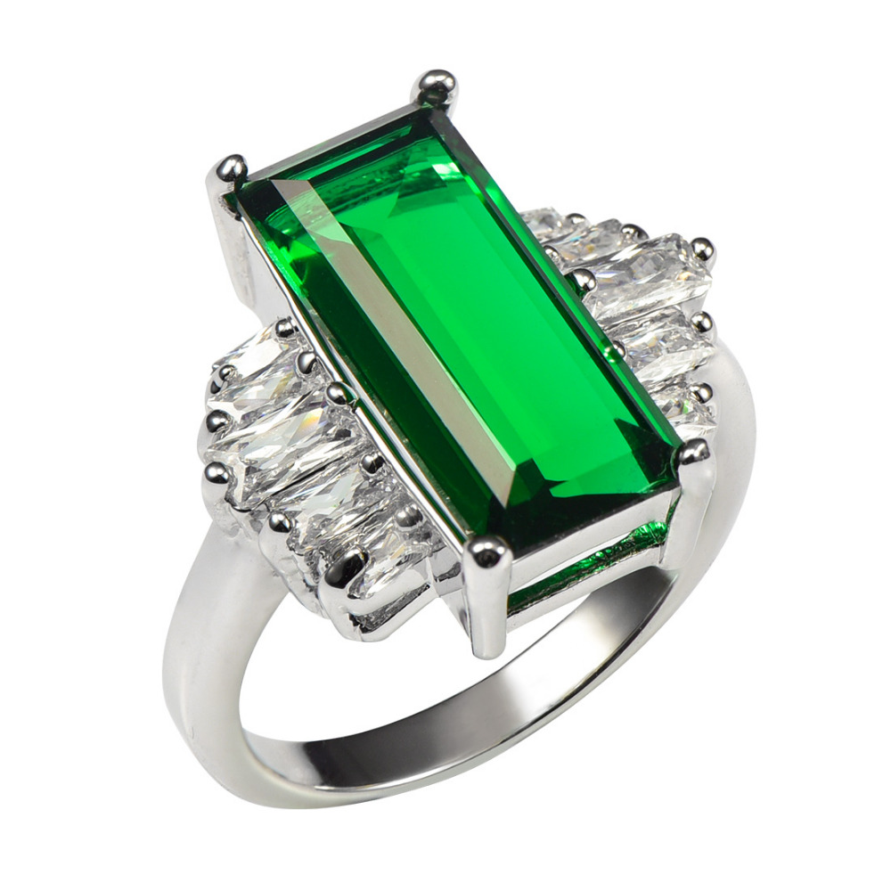 Huge Simulated Emerald With Multi White Crystal Zircon 925 Sterling Silver Ring For Women Size 6 7 8 9 10 11 F1469