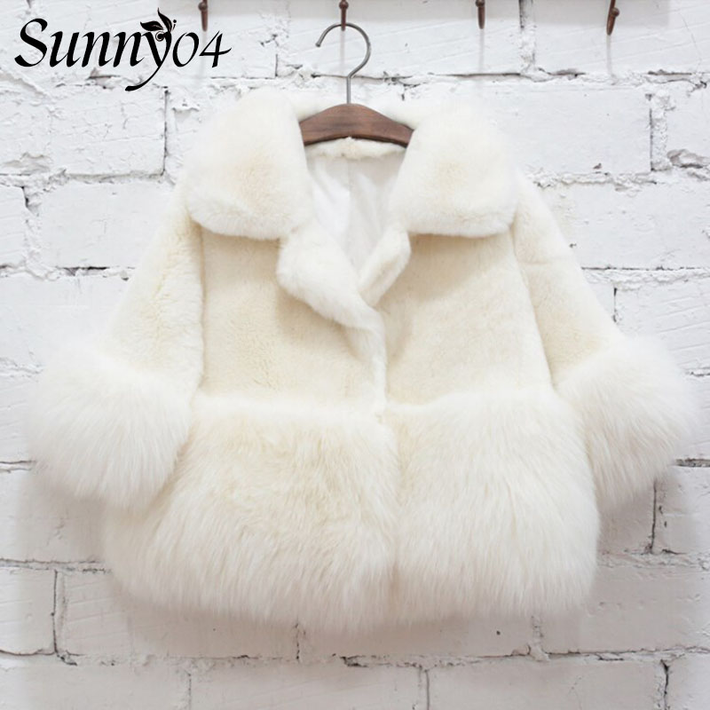 Children Winter 2017 Little Girls Faux Fur White Coat High Quality Baby Party Holiday Clothes Kids Toddler Girl Warm Thick Coats 2017 new luxury faux fur coats fashion winter jacket for girls baby clothes parka elegant clothing little girl outerwear coat