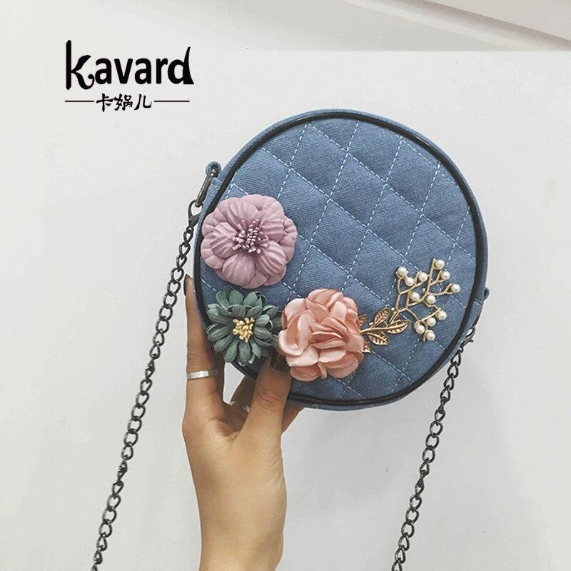 2017 kavard Bead Flowers Mini Chains Crossbody bag handbags women famous brand luxury handbag women bags designer bag sac a main