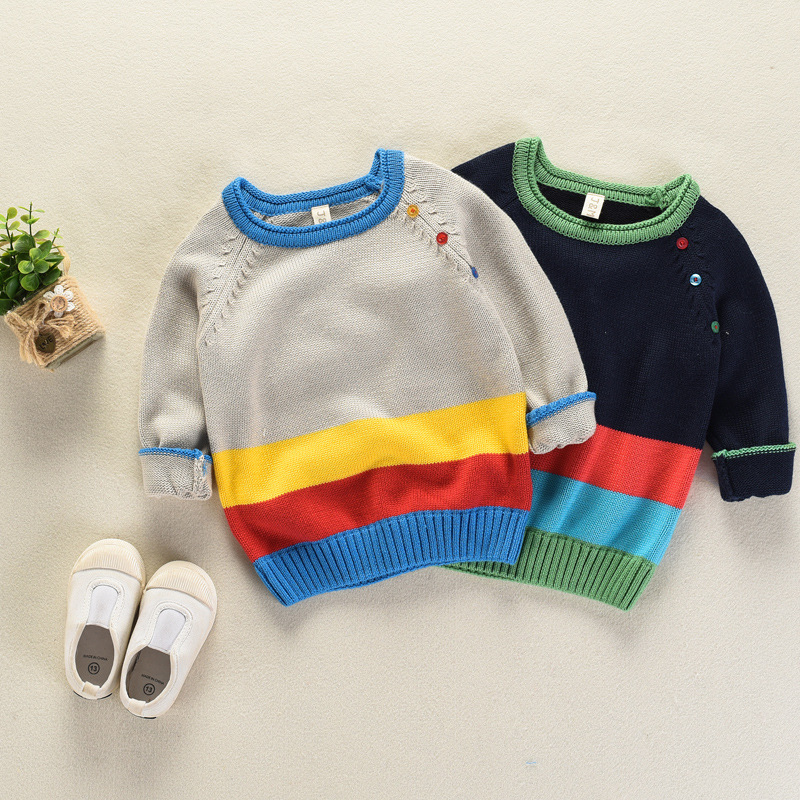 Autumn Winter Sweater New Style Baby Boys Outerwear Sweater Children Rainbow Striped Knitting Coat Kid Boys Girls Jackets Jumper
