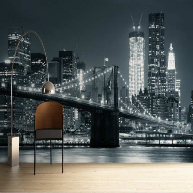 Mural Backlit Brooklyn Bridge 3D Wallpaper For Walls Black Famous City