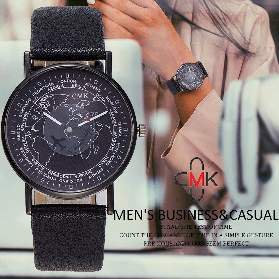 Fashion Women Air Plane World Map Watch Casual CMK Brand Women Leather Wristwatches Quartz Watch Relogio Feminino Dropshipping fashion global travel by plane map men women watches casual denim quartz watch casual sports watch for men relogio feminino