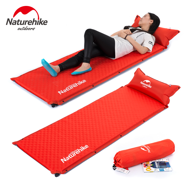 NatureHike Self Inflating Sleeping Pad with Pillow Camping Mat Automatic Inflatable SPLICED Air Mattress Tent Bed outdoor camping green blue splicing automatic inflatable mattress one person self inflating moistureproof tent mat with pillow