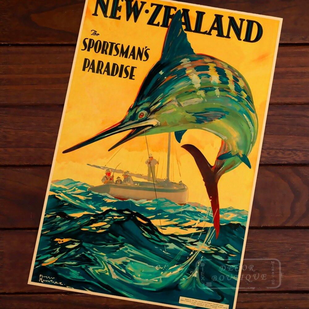 Sportler Paradies Neuseeland NZ Vintage Retro Leinwand Malerei ...
