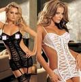 Mulheres Sexy Nighty Vestido Oco Out Exotic Vestuário Lingerie Virilha Feminina Malha Oca-Out Mini Chemise