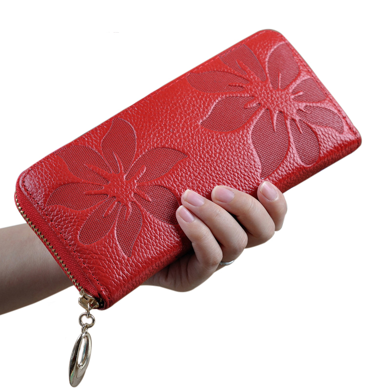 Female Purse Genuine Leather Women Wallet New Fashion Style best Zip Flower pattern Lady Long Wallet black Purse Handy Handbag padovan корм padovan scagliola корм для птиц зёрна канаречнных семян 25 кг